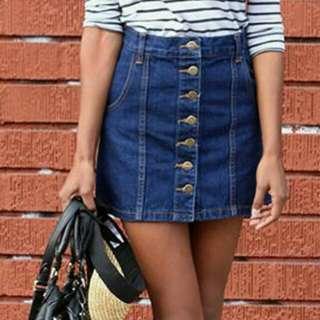 Button-down Denim Skirt XL