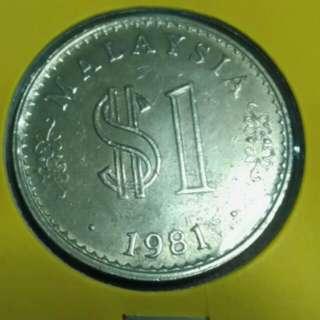 Duit Syiling Lama 1 Ringgit 1981