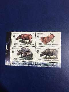 印尼 1996 WWF 動物保護 犀牛 4全 連票