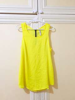 Neon Yellow Sleveless Top