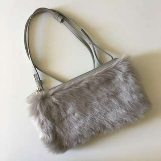 BN Japan Uniqlo Grey fur purse bag