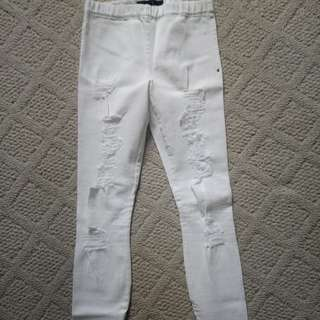 White jeans ripped xs
