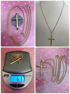 Pre Order Japan 18k Gold Necklace with cross pendant