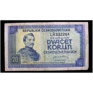 1945年捷克共和國立獅國徽及詩人哈夫利切克像20克魯鈔票