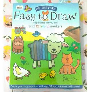 [BBW] Buku import anak ON THE FARM EASY TO DRAW step by step activity pad