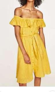 Zara Off Shoulder Linen Dress