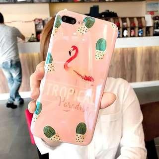 iPhone case春夏清新紅鶴包邊軟殼 iPhone X/ 8/ 8+/ 7/ 7+/ 6/ 6s/ 6+