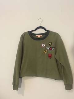 Army Green Cropped Sweater