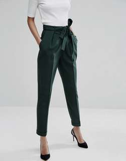 Zara Forest Green Paperbag Waist Trousers