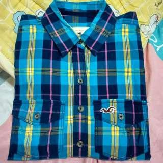 Hollister 海鷗 藍格紋襯衫XS號