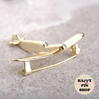 Simple Gold & Silver Plane Brooch Pin