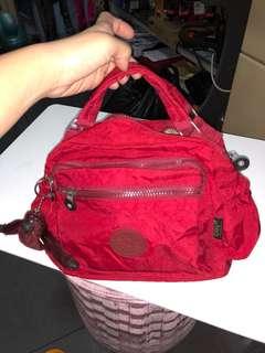 Kipling 3 Zippers Small Red Bag