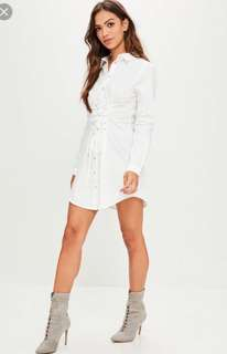 Missguided lace up shirt dress