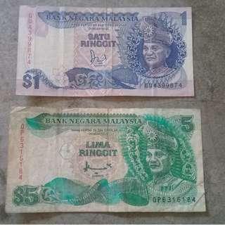Duit lama untuk dilepaskan RM1 &RM5