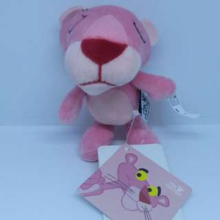 "Brand New 3.5"" Pink Panther Pinky Sleepy Figurine Plush Stuffed Soft Toy Keychain Bag Charm"