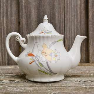 Vintage Bone China White Floral Teapot with Gold Gilding