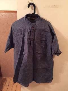 立領棉麻藍長版襯衫