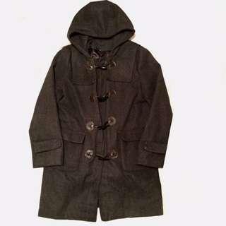 (免運)古著鐵灰色牛角扣大衣