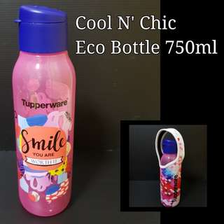 Authentic Tupperware Cool N' Chic Eco Bottle 750ml Flip Top Retail Price $13.50 pouch $6.70 each piece