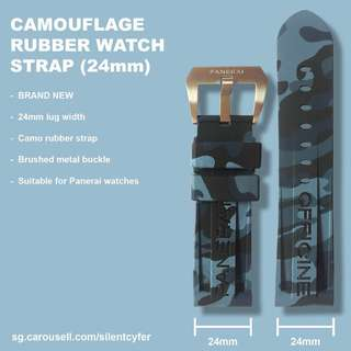 BRAND NEW 24mm Camo Light Blue/Grey Rubber Watch Strap for Panerai