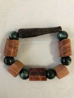 Natural sinking Agarwood with Burmese Jade bead
