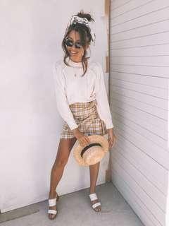 // verge girl - yellow checked wrap skirt NEW