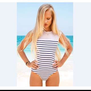 One piece stripe see through swimsuit