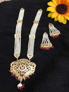 Wine coloured pearl long necklace set