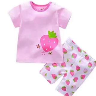 [CLEARANCE] Baby Girl Strawberry Set Shirt And Pants Toddler Children Shorts for baby toddler newborn