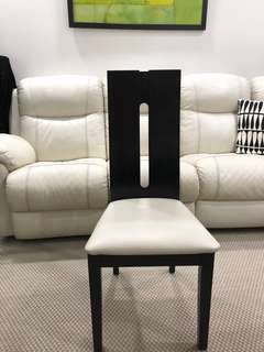 6 dining chairs - black wood/cream leather (reserved 12/04)