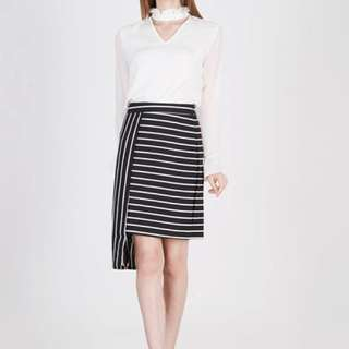 Coup Belle Ican Asymmetric Stripes Skirt