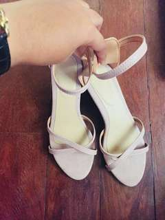 Sandals with 2 inches heels (Nude pink/Old Rose)