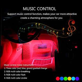 Vehicle Music activated led strip full set