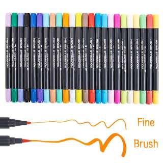 Watercolour Brush Pens Set,SAYEEC 24 Colors Twin Tips Brush Pens
