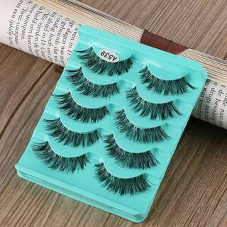 5Pairs Long Black Handmade Cross False Eyelashes