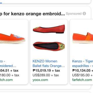 AUTHENTIC KENZO EMBROIDERED ORANGE BALLET FLATS SHOES