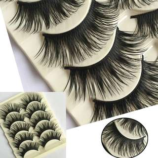 #07 5Pairs Long Black Handmade False Eyelashes