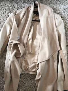 BARDOT Cream Leather Waterfall Coat