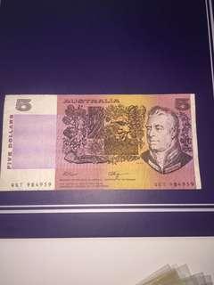Australia $5 year 1980s, Circulated ,