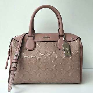 Coach Mini Bennet Satchel in Signature Debossed Leather (Blush) sz 24x17x11cm