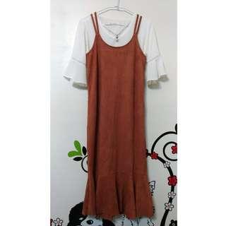 秋冬韓系連身絨布長裙。全新