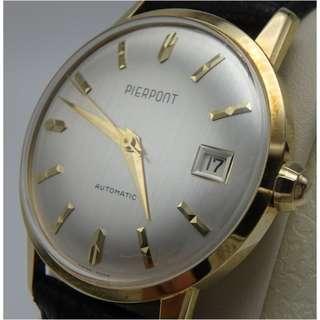 60`s 年代 ~ 瑞士名錶 皮爾龐特 PIERPONT 男裝 珍珠白色面 自動 日歷 18K 金 皮帶錶