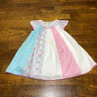 Mothercare baby girl patchwork dress with Broderie details