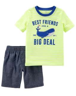 Carter's Whale t shirt and shorts set