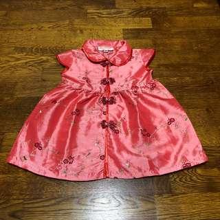 Baby red CNY cheongsam dress