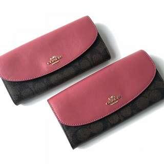 Coach Signature Slim Envelope Wallet(Brown/Rouge)
