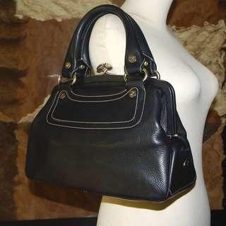 SALE!!! CELINE topstitched leather kisslock framed satchel handbag