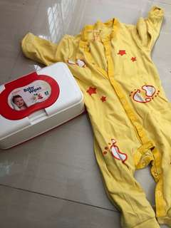 Baby Sleepwear + Pigeon Wet Wipes Box $1