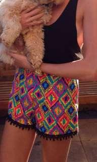 Dissh Boutique Aztec neon shorts. Size 6
