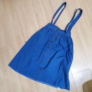 Korean Denim Midi Jumper Skirt